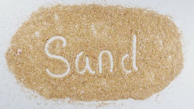 Hand Writes On Beach Sand Sand