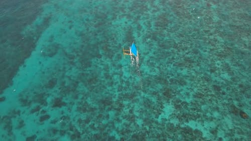 Sailing Boat in Blue Sea. Boracay Island Philippines