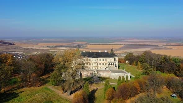 Aerial View of Haunted Castle of Pidhirtsi, Ukraine