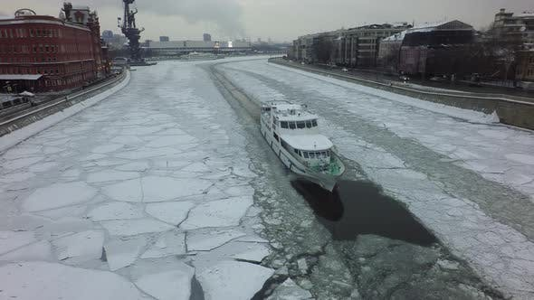 A Ship in an Iced River
