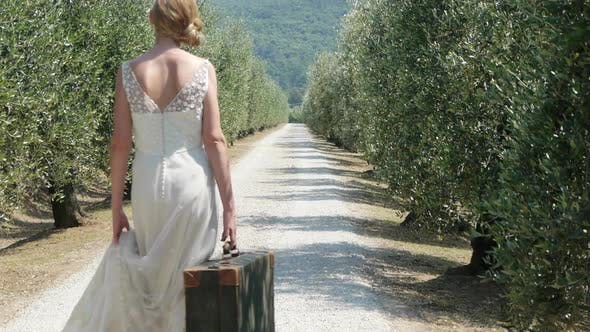 Thumbnail for Bride on on rural road with suitcase, rear view