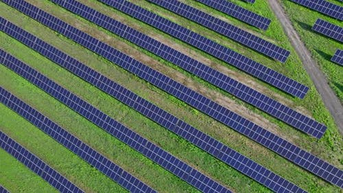Ecology Solar Power Station Panels in the Fields Green Energy