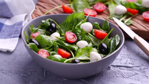 Thumbnail for Vegetarian And, Organic Food Concept. Caprese Italian or Mediterranean Salad. Tomato Mozzarella