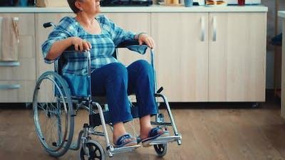 Sad Handicapped Elderly Woman