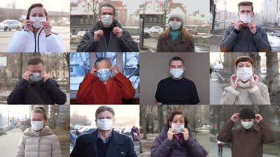 Various People in Protective Masks.