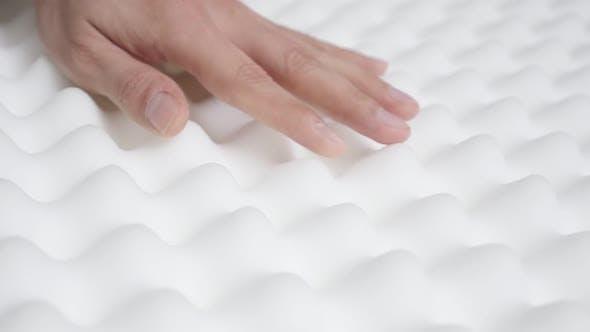 Elasticity of memory foam peak and valley mattress  slow motion 1080p HD video - Orthopedic exaggera