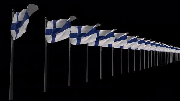 Row Of Finland  Flags With Alpha 4K