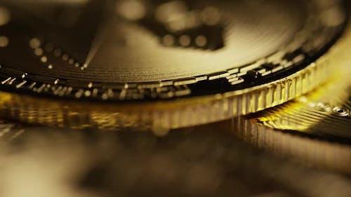 Rotating shot of Bitcoins (d