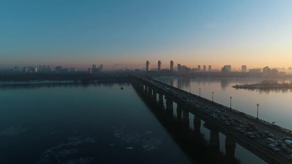 Thumbnail for Sunset Over the Bridge in the Kyiv