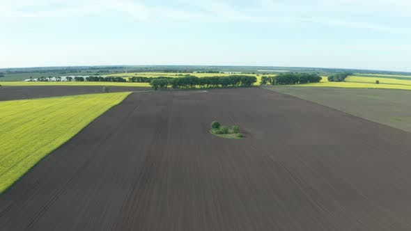 Thumbnail for Drone View of Plowed Soil and Blooming Fields