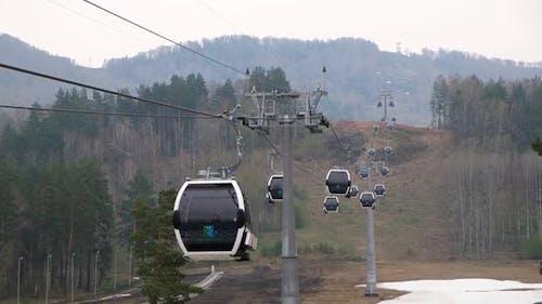 Lift Cabins in a Mountain Ski Resort