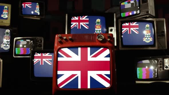 Flag of the Cayman Islands and UK Flag on Retro TVs.