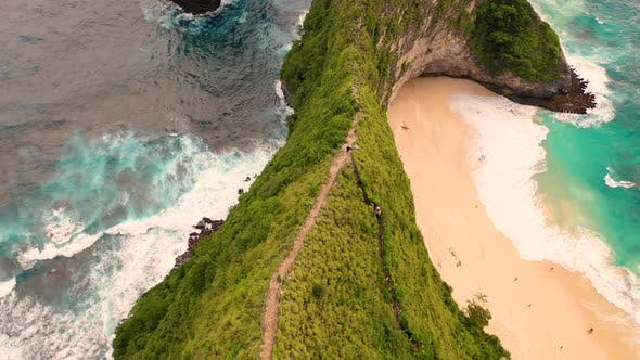 Thumbnail for Aerial view above of Thousand Islands Viewpoint cliff, Indonesia.