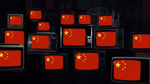 Flags of China and Retro TVs. 4K Version.
