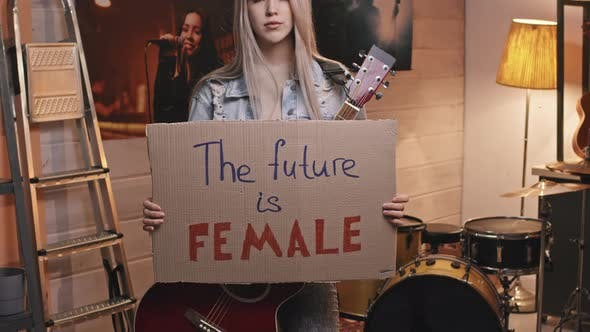 Female Guitarist With Future Is Female Sign