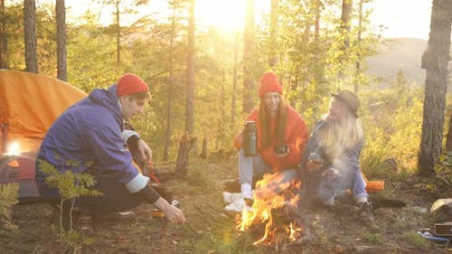 Beautiful Youth Set Up a Campground.