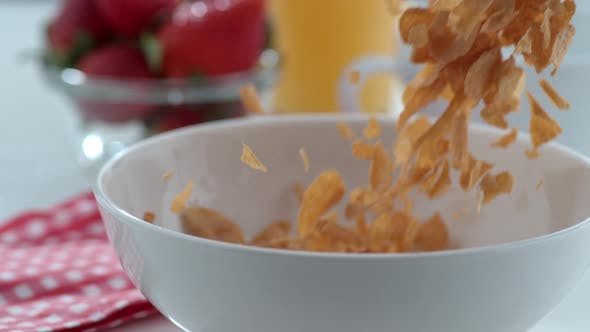 Thumbnail for Cereal pouring into bowl in slow motion; shot on Phantom Flex 4K at 1000 fps