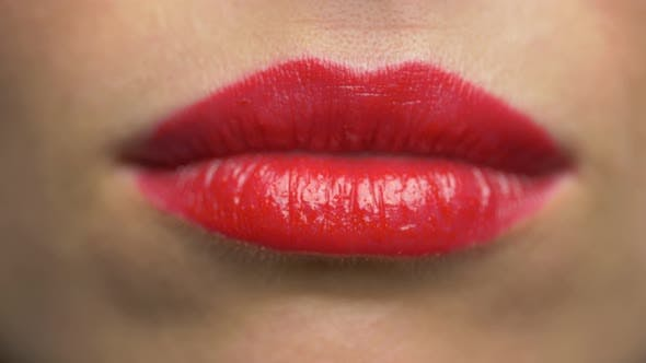 Thumbnail for Woman Lips with Red Lipstick Making Kiss