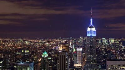 The Empire State Building and New York City night time-lapse.