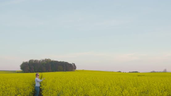 Female Farmer Examining Oilseed Rape Field