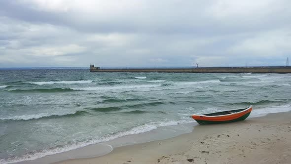 Thumbnail for Beach of Baltic Sea in windy stormy weather in Hel, Poland, Europe at autumn