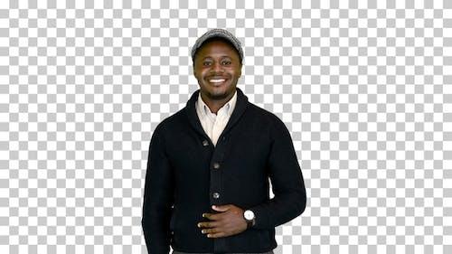Handsome black man smiling for the camera, Alpha Channel