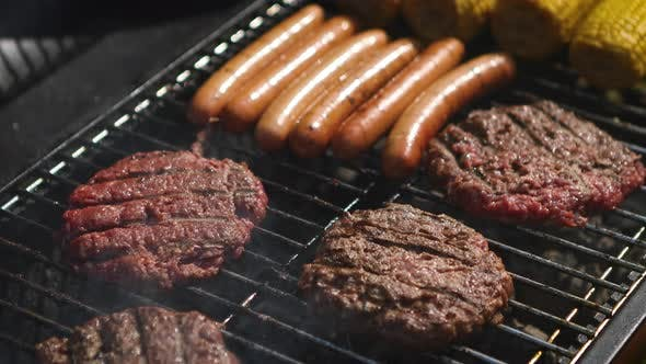 Thumbnail for Mixed American Barbecue Food on Hot Grill