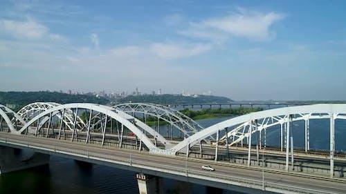 Aerial View of Automobile and Railroad Bridge