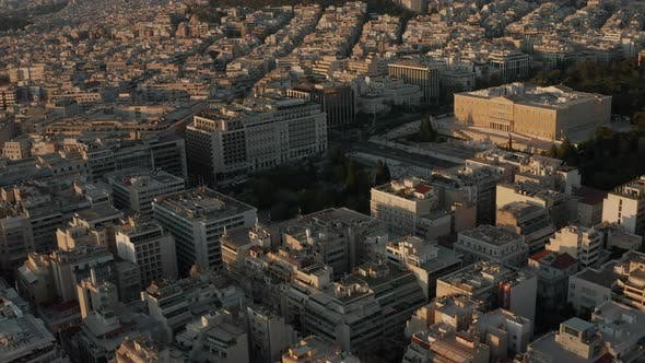 Thumbnail for Aerial View of The Hellenic Parliament in Athens, Greece in Beautiful Golden Hour Light
