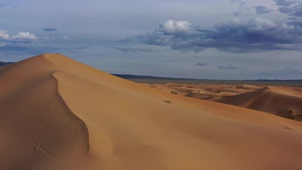 Thumbnail for Aerial Panorama View of Sand Dunes in Gobi Desert