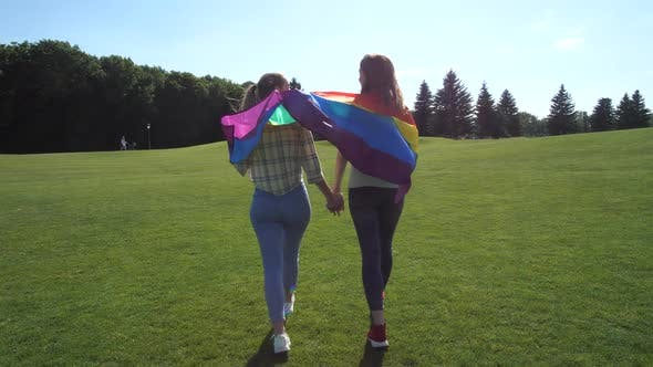 Thumbnail for Lesbian Couple with Rainbow Flag Walking on Grass