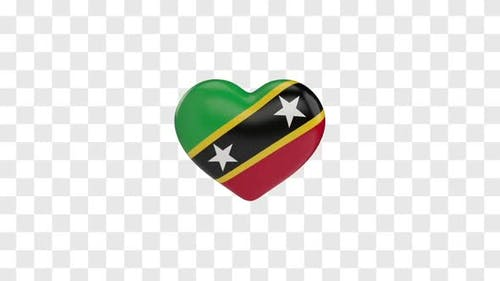 Saint Kitts and Nevis Flag on a Rotating 3D Heart