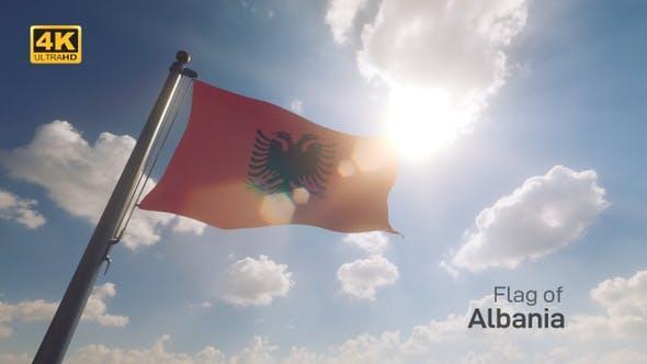 Albania Flag on a Flagpole V2 - 4K