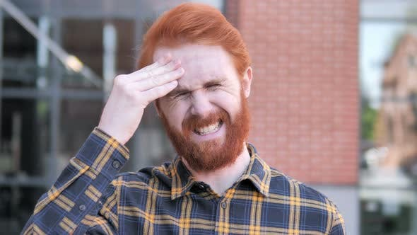 Cover Image for Headache, Uncomfortable Stressed Redhead Beard Young Man
