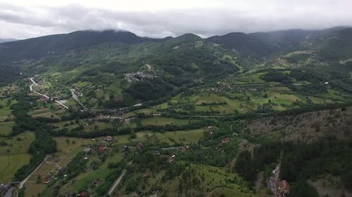 Aerial Scene with Mountain Village in Serbia