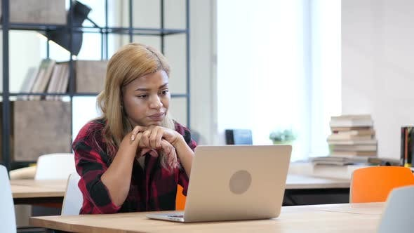 Thumbnail for Business Loss Black Young Girl Working on Laptop
