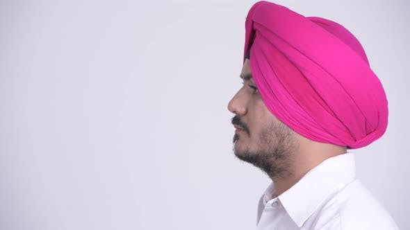 Thumbnail for Profile View of Bearded Indian Sikh Man Wearing Turban
