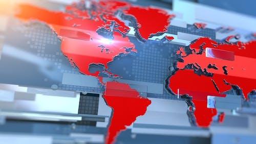 Weltkarte Broadcast Nachrichten Transition