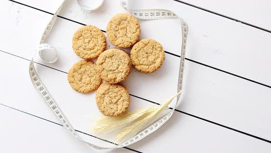 Thumbnail for Healthy Oatmeal Cookies on White Wood Background, Top View.