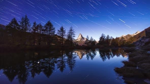 Thumbnail for Star Trails Over Matterhorn Peak in Zermatt, Switzerland.