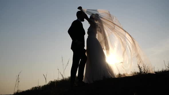 Thumbnail for Caucasian Bride in Luxurious White Dress Covers Her Stylish Bearded Groom with a Veil Standing on a