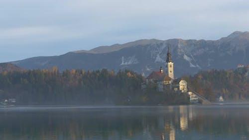 Church on a lake shore