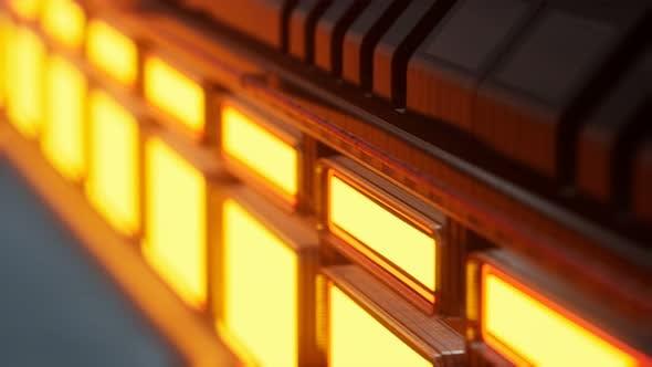 Thumbnail for Lumières jaunes et panneaux métalliques dans l'intérieur futuriste