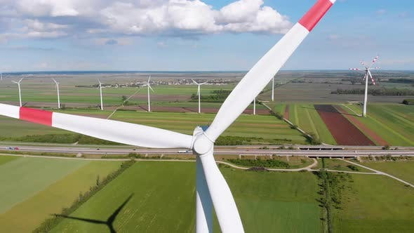 Thumbnail for Aerial View of Wind Turbines Farm and Agricultural Fields