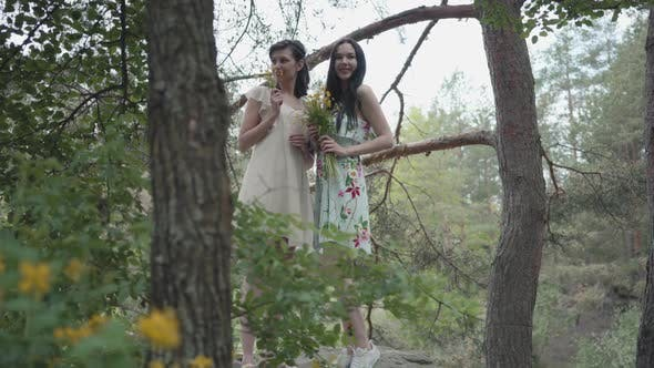 Thumbnail for Portrait Two Beautiful Women in Short Dresses Standing on Rocky Ground with Wild Flowers