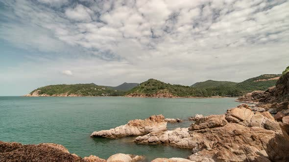 Thumbnail for Beautiful rocky coast in the background of the sea and island Koh Phangan, Thailand