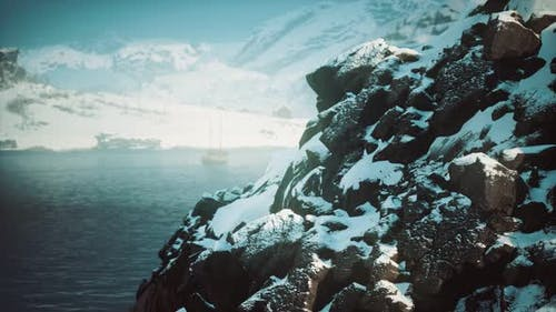 Snow Covered Mountains in Northern Ocean