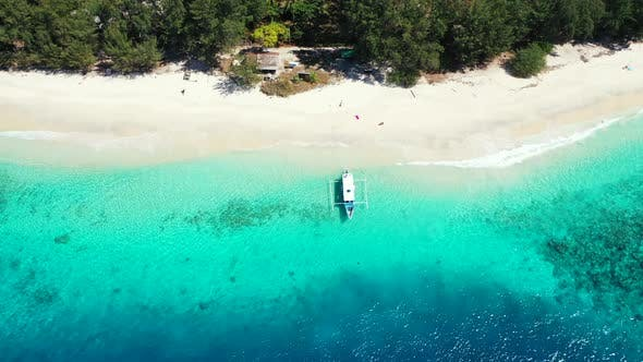 Thumbnail for Wide drone clean view of a white sandy paradise beach and aqua turquoise water background in colourf