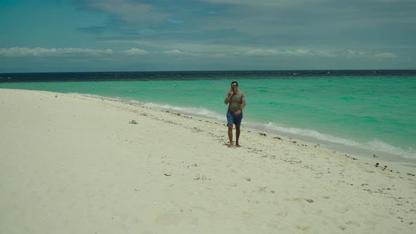 Man Cellphone Beach
