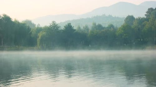 Foggy Lake in the Early Morning
